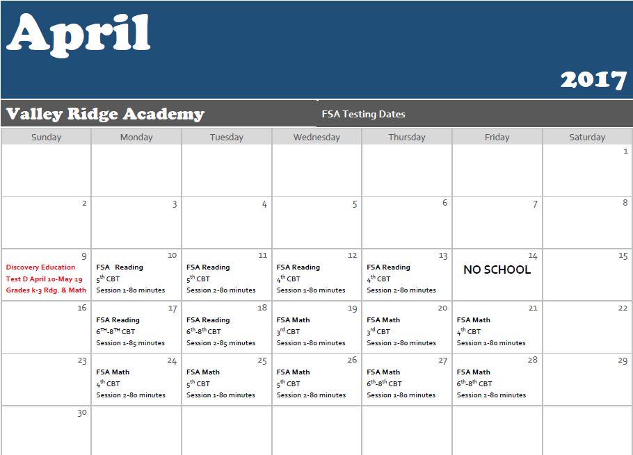April Testing Calendar