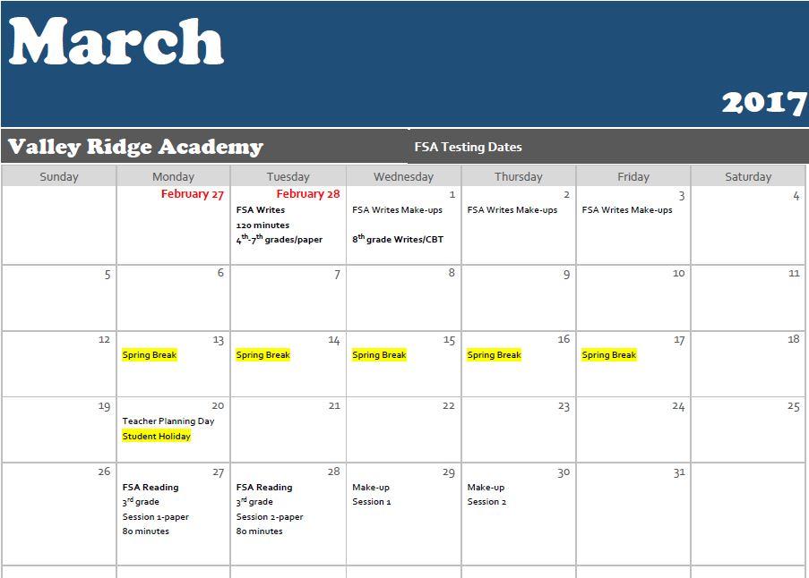 March testing calendar